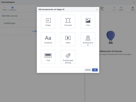 Facebook Canvas ads typer