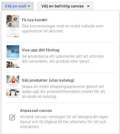 Facebook canvas ads mallar
