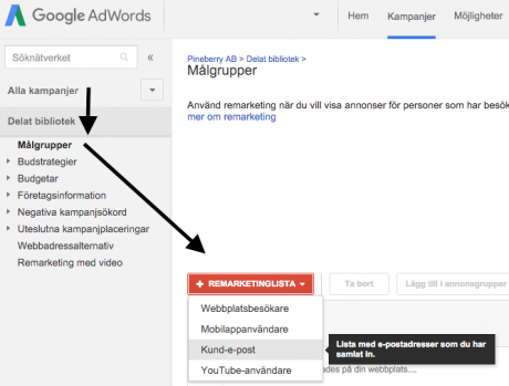 emaillista AdWords