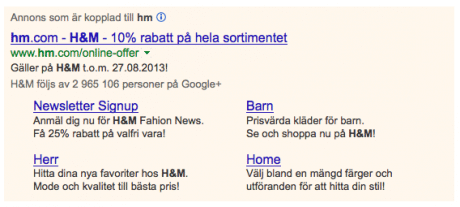 HM Adwords Sitelinks