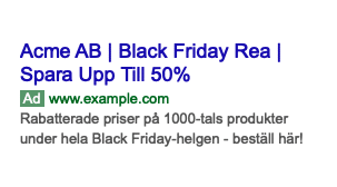 black friday rea annonscopy exempel