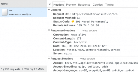 Redirects i Chrome DevTools