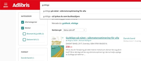 Site search Adlibris Guldläge